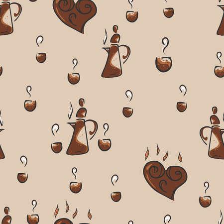 Seamless pattern on the coffee theme. Coffee theme background.