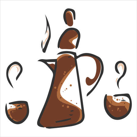 Coffee pot with a cup of coffee icon. Vector illustration of a mug with coffee and coffee pot.  イラスト・ベクター素材