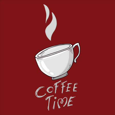Cup of coffee icon. Vector illustration of a coffee mug. Hand drawn doodle cup, mug with hot coffee.
