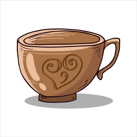 Cup of tea, coffee icon. Vector illustration of coffee, tea cup, mug. Hand drawn cup of hot tea, coffee.