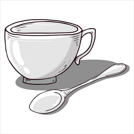 Cup with spoon icon. Vector illustration of a coffee cup with a small coffee spoon. Hand drawn cup, mug of tea with a spoon.