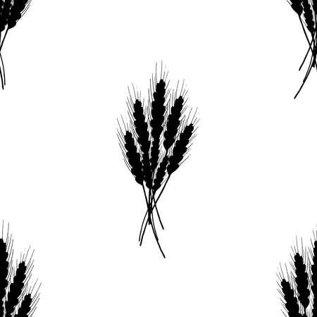 Seamless pattern of wheat. Vector illustration of a seamless pattern of wheat. Hand drawn ear of wheat.
