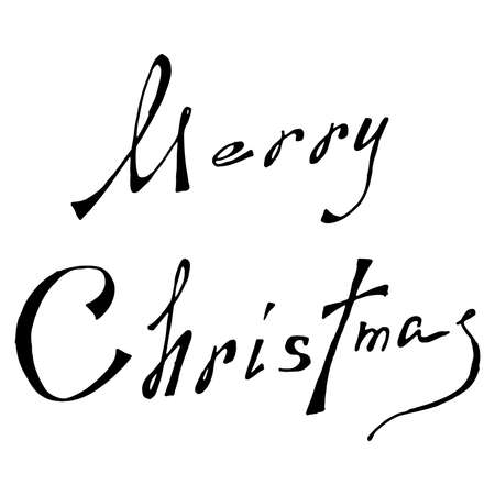 Merry Christmas text calligraphy. Merry Christmas lettering theme. Vector illustration of handwriting Merry Christmas in English.