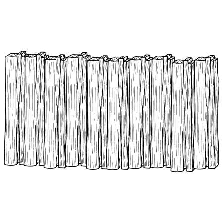 Wooden fence. Vector illustration of a fence made of wooden boards. Old wooden planks.  イラスト・ベクター素材