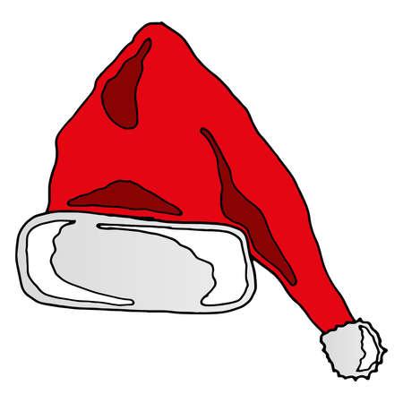 Santa Claus red hat. Happy New Year symbol decoration. Vector illustration Santa Claus hat.