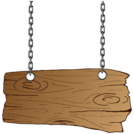 Wooden board hangs from chains. Empty wooden signboard on chains. Hand drawn.