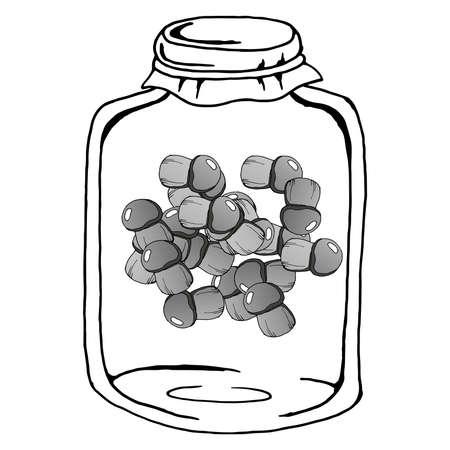 Pickled mushrooms in a glass jar. Vector illustration of a mushroom in a jar. Hand drawn mushrooms in the jar.