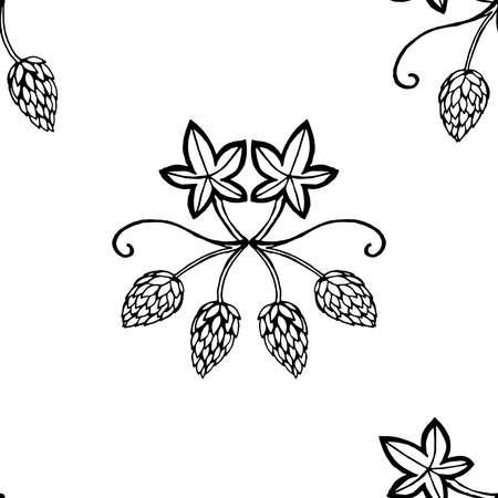 Hops seamless pattern. Hop bush seamless pattern.