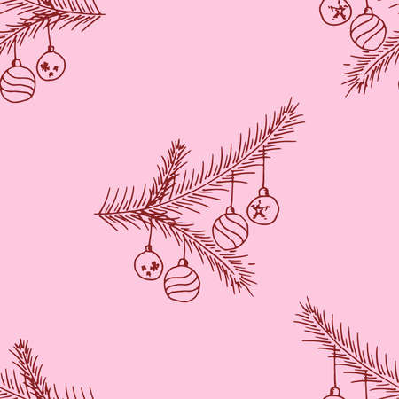 Seamless pattern from a branch of a Christmas tree with balls. Hand drawn branch of a Christmas tree with balls.  イラスト・ベクター素材