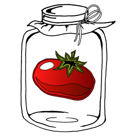 Pickled tomato in glass jar. Vector illustration of a tomato in a jar. Hand drawn pickled tomato in glass jar.  イラスト・ベクター素材