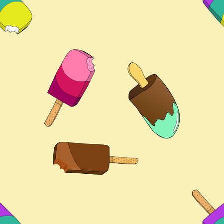 Ice cream on a stick seamless pattern. Vector illustration of a seamless pattern of chocolate, fruit ice cream.