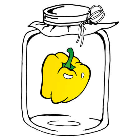 Pickled sweet peppers in glass jar. Vector illustration of a peppers in a jar. Hand drawn pickled bell peppers in glass jar. Ilustração