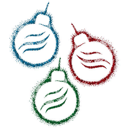 Bright Christmas balls on the Christmas tree. Christmas decor. New Year decoration on the Christmas tree.  イラスト・ベクター素材