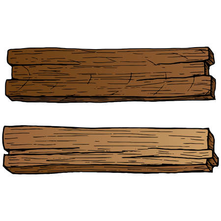 Wooden plank. Vector illustration of a wooden board with a blank space. Hand drawn wooden plank.
