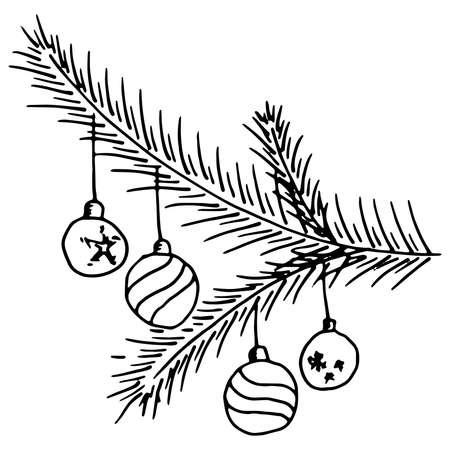 Christmas balls on a fir branch. Vector christmas toys on a tree branch. Christmas pine tree branch hand drawn.