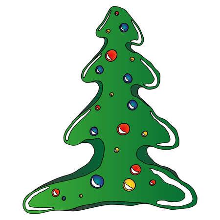 Christmas tree. Vector illustration Christmas balls. Christmas tree decoration.