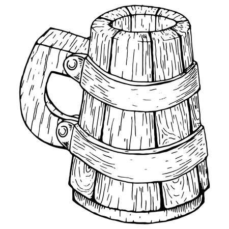 Wooden beer mug. Old beer mug. Vector illustration of a wooden mug of beer.  イラスト・ベクター素材