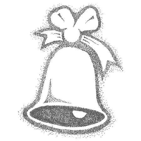 Christmas bell with a bow on a white background. Christmas decor. New Year decoration on the Christmas tree.