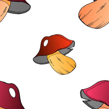 Mushrooms seamless pattern. Vector illustration of a seamless pattern of mushrooms. Hand drawn mushroom.