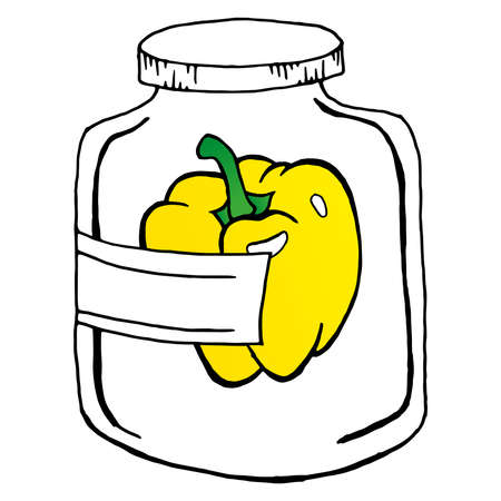 Pickled sweet peppers in glass jar. Vector illustration of a peppers in a jar. Hand drawn pickled bell peppers in glass jar.  イラスト・ベクター素材