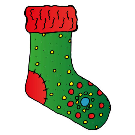 Christmas sock icon. Vector illustration of a christmas sock. New Year's gift sock.  イラスト・ベクター素材