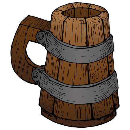 Wooden beer mug. Old beer mug. Vector illustration of a wooden mug of beer. Illustration