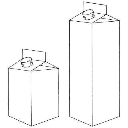 Carton pack for juice, milk and other drinks. Vector illustration of a cardboard package for liquid. Vettoriali