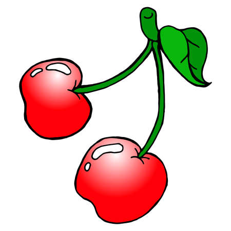 Cherry icon. Vector illustration of a sprig of cherries isolated on white background. Hand drawn cherry berry. Ilustração