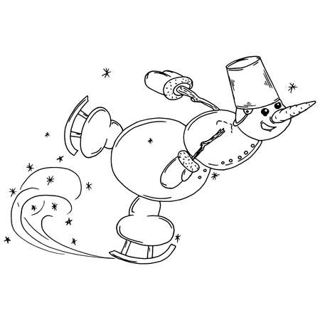 Snowman ice skating. Vector illustration of a cheerful snowman ice skating for Christmas. Hand drawn funny snowman ice skating.