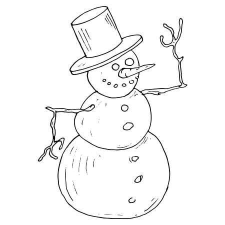 Snowman. Vector illustration of a merry snowman for Christmas. Hand drawn funny snowman.
