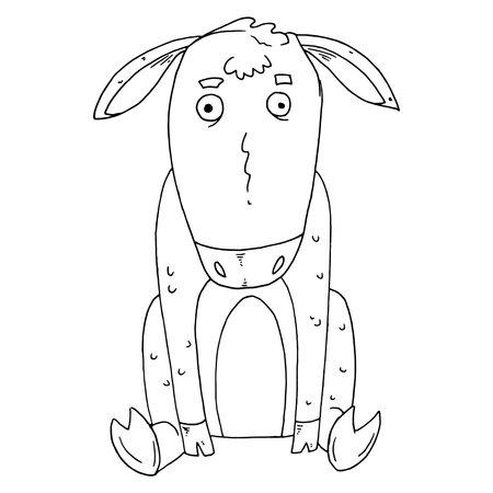 Donkey icon. Vector illustration of a cartoon donkey. Hand drawn sad donkey.