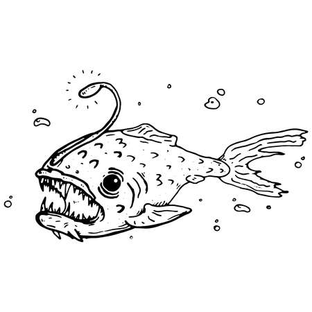 Deep sea predatory fish. Angler fish vector. Vektorgrafik