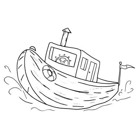 Wooden diesel boat. Vector old fishing boat.