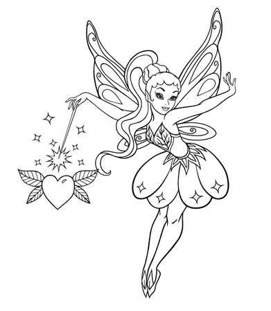 girl magic wand: Vector illustration of cute fairy with wings isolated on white background. Illustration