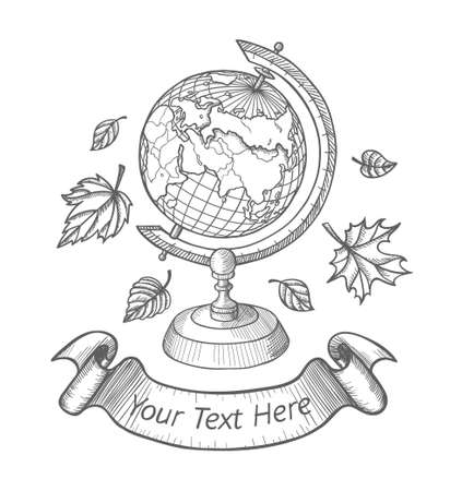 Retro vector doodle of a world globe stand. Autumn doodle icons set, school doodle , Sketch globe, autumn leaves and ribbon for your text. Vector illustration isolated on white background