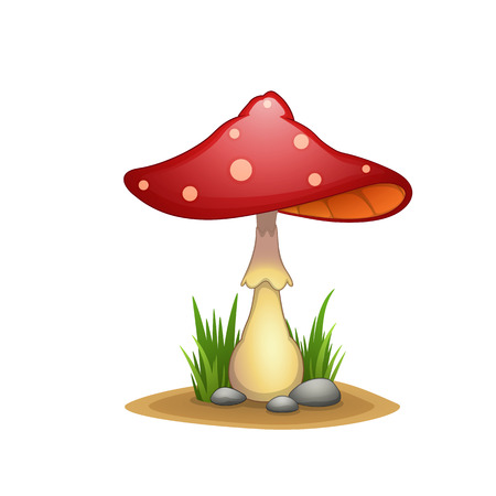 inedible: spotted mushroom in a cartoon style for the web design Illustration
