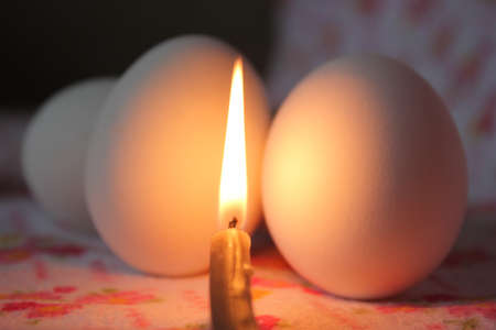 Easter dinner at lighted candles