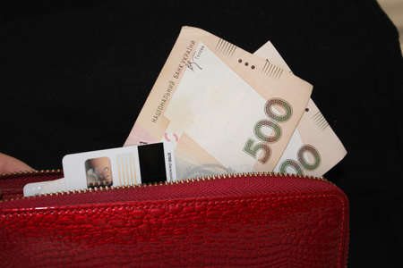 Scarlet purse with cash and cards