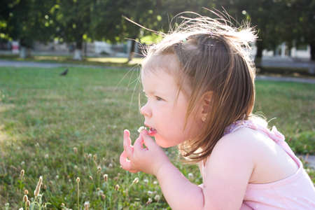 small articles: Baby girl tasting a flower