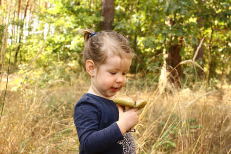 blanks: cute little girl with her first mushroom Stock Photo