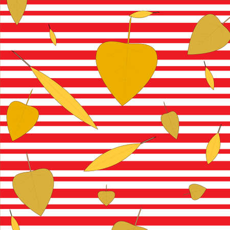 autumn yellowed leaves fall on striped red with white background