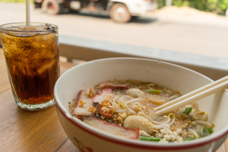 noodles and beverage on market street in my travel