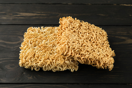noodles on table wood background