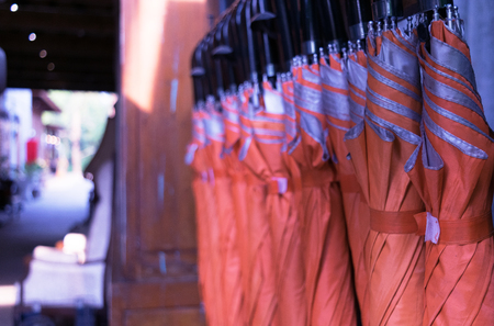 Many orange umbrellas are available in vintage style Stok Fotoğraf