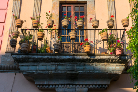 There are many handles with his flowers in the balcony.