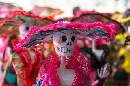 The pink catrina is very elegant.