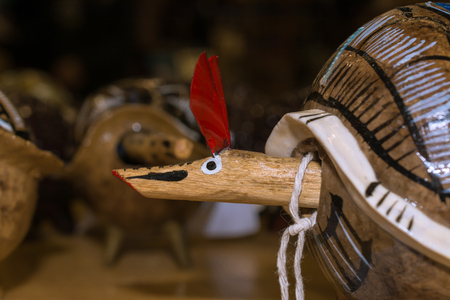 There is an armadillo made of wood. Stock fotó