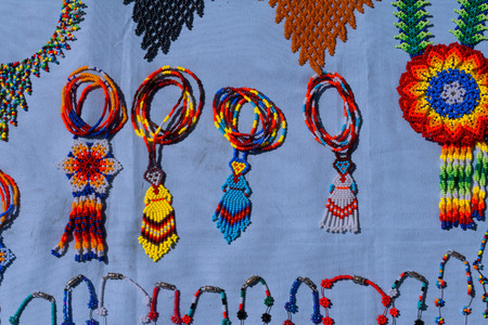 Necklaces and pieces made by Huichol Indians.