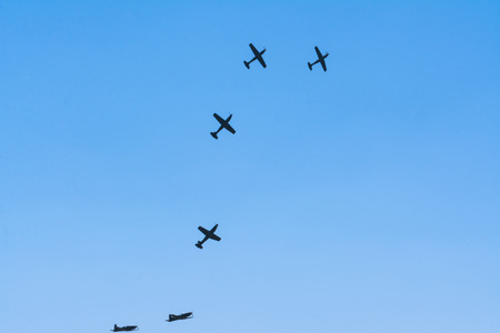 The aerobatics fly in the form of letter S.