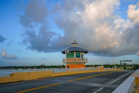There is no traffic on the Lantana Florida bridge.